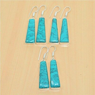 925 Sterling Silver Plated Wholesale 5 Pair Turquoise Long Hook Earring Lot