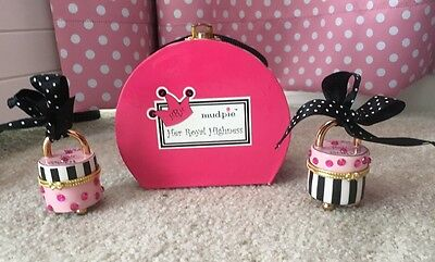 "Mud Pie Princess Tooth/Curl Treasure Box Set Black And Pink ""Her royal Highness"""