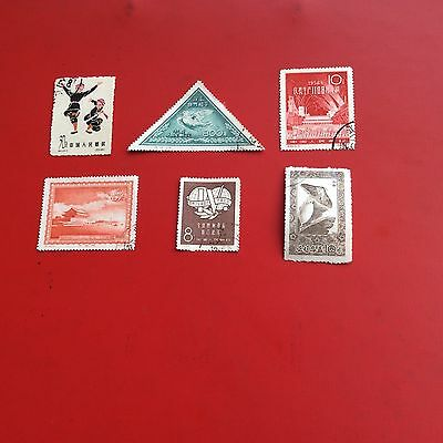 6 rare vintage Chinese postage stamps