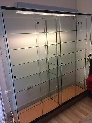 Showcase Shop Display Glass Cabinet With Tube light Canopy