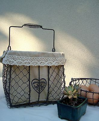 Rustic/Country Style Wire Basket with Lace Rim Liner and Handle (Heart Design)