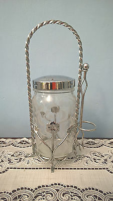A Vintage Glass Pickle Jar With Fork & Chrome Holder
