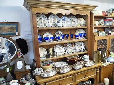 Large Antique Pine Dresser 3 x shelves with plate rails, 2 x drawers, display