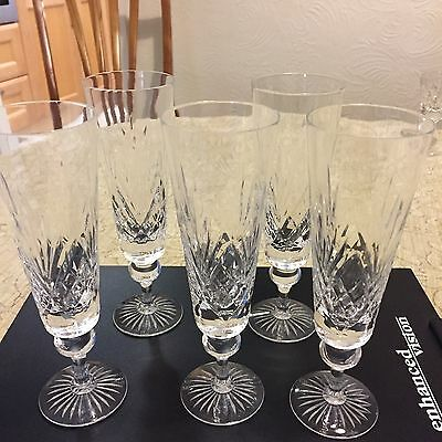 Hand Cut Lead Crystal 5 Champagne Flutes