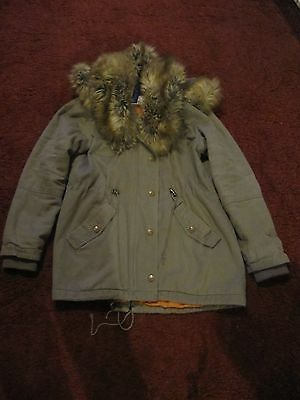 Henry Holland Ladies Khaki Parka Coat Size 12 With Fur Collar And Hood