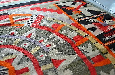 Antique Aztec Mexican Figural Wool Rug Blanket Wall Hanging