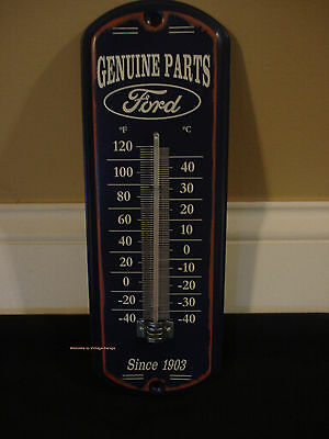 NEW METAL FORD GENUINE PARTS THERMOMETER shop oil mancave logo emblem auto blue