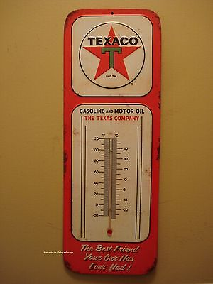 NEW METAL TEXACO THERMOMETER shop motor oil gas station mancave logo emblem star