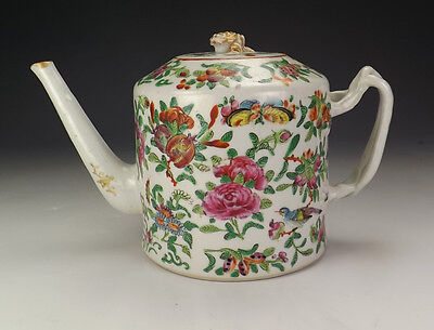 Antique Chinese Oriental Porcelain Famille Rose Teapot - Lovely!
