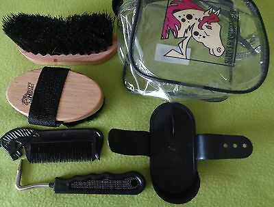 NEW Harry's Horse Kids Mini Pony Grooming Kit~BLACK~Brushes~Hoof Pick~Curry Comb