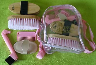 NEW Harry's Horse Kids Backpack Grooming Kit~PINK~Brushes~Hoof Pick~Curry Comb