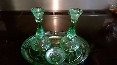 Vintage Green Glass 4 Piece Dressing Table Set