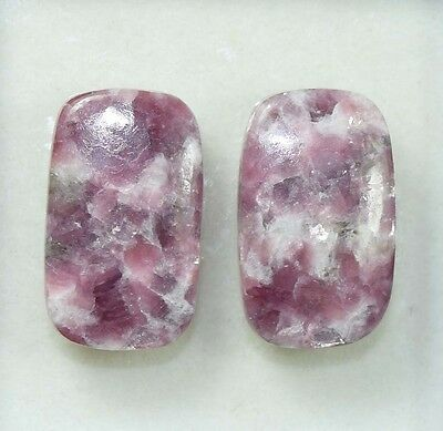 Pair  33.90 Cts. 100 % Natural Lepidolite Untreated Cushion Cab Loose Gemstones