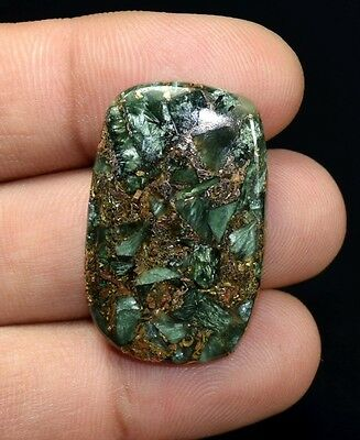 Brilliant  26.00 Cts. Natural Copper Seraphinite Cab For Sterling Silver Jewelry