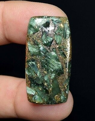 Brilliant  31.30 Cts. Natural Copper Seraphinite Cab For Sterling Silver Jewelry
