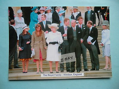 Original Postcard The Queen, Prince William, Harry, Charles & Family