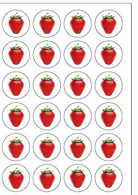 24 PRECUT Strawberry Fruit Themed Edible Wafer Paper Cake Toppers