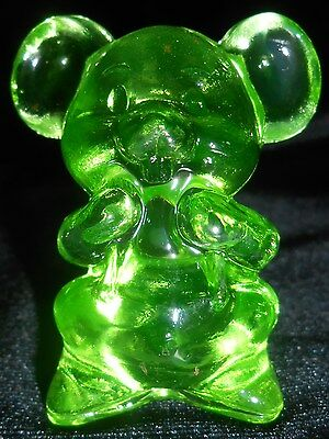 Neon Green Vaseline solid Willie Mouse glass Figurine Paperweight uranium yellow
