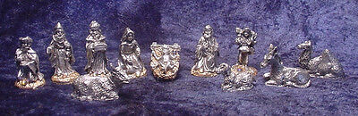 Pewter 11 Pieces Nativity Set with Golden Crystals