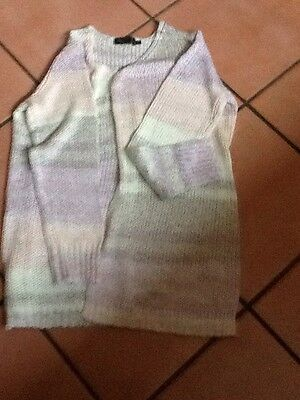 BPC Collection Chunky Knit Cardigan Size M. Multi Pastel Colours