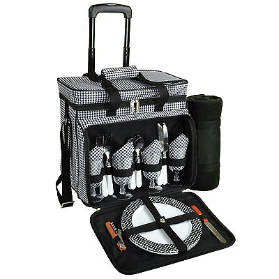 Picnic At Ascot Houndstooth Deluxe Rolling Cooler