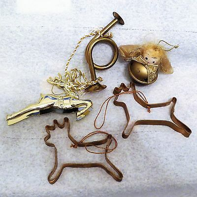 Lot of 5 Brass Goldtone Metal Christmas Ornaments Trumpet Cookie Cutter Deer
