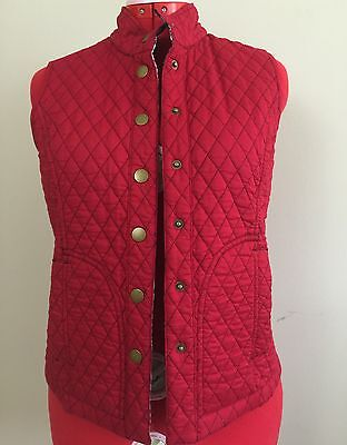 Quilted Reversible Cotton Vest Red and Black/White Snap Button Womens Size S