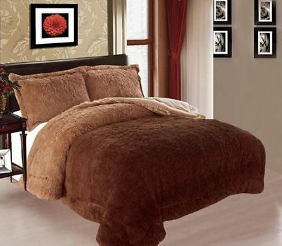 3PC QUEEN THICK Luxurious Faux Fur Soft warm sherpa bed CHOCOLATE Blanket SHADES