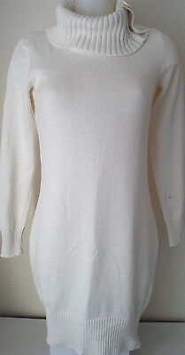 Winter White Thick Ladies 100%Cotton Chunky Knit RollNeck Jumper Dress Uk 10/12