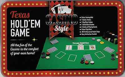 Casino Style 200 Piece Texas Hold'em Poker Game Chips Set in Tin Case