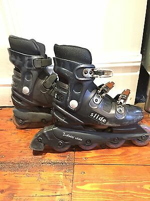 Black Roller Blades / Inline Skates Size 6 And A Collection Of Protection Pads
