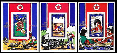 Korea N MNH 3 Imperf SS Set, Train, Ships, Space,Int. Chlid Year,Transport - A48