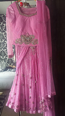 baby pink lengha with heavy antique gold and silver stone work size small (36)