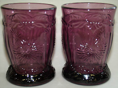 pair of purple amethyst glass Dahlia pattern tumblers cups goblets black flowers