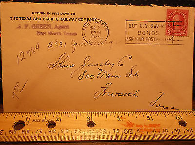 Railroad Mail T&p Texas & Pacific Railway Vintage Old Letter W/postage 1936