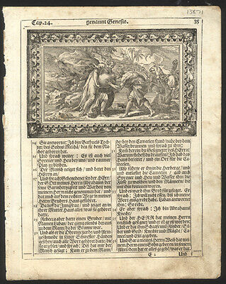 1705 German Bible Leaf Genesis Woodcut Rebekah Gives Water to Abraham's Servant