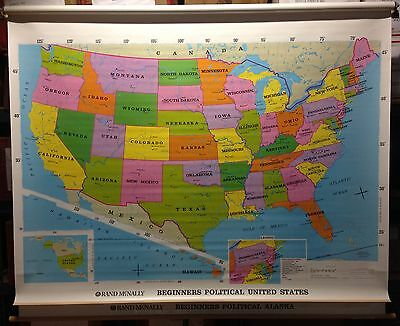 Vintage Rand McNally Beginners Political United States, Alaska Pull Down Map