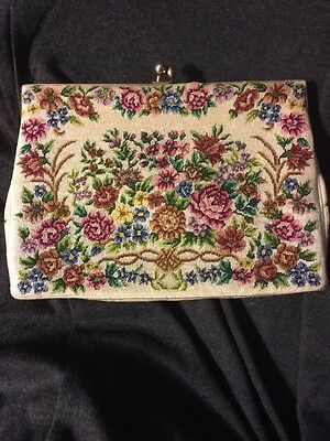 """VINTAGE TAPESTRY CLUTCH PURSE, Kiss Lock, IN-OR-OUT METAL HANDLE, 8"""" X 5.5"""""""