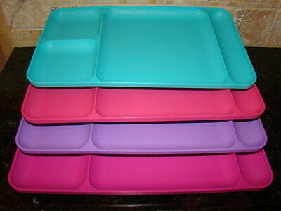 Lot of 4 Tupperware Multicolor Divided Picnic Lunch Trays - Great for Camping