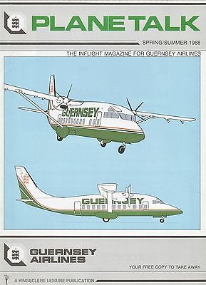"""Plane Talk""-1988 Inflight Magazine- Guernsey Airlines(operated from 1978-1989)"