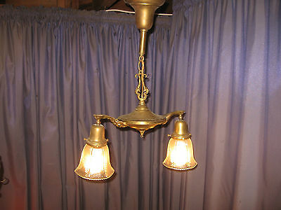 1900s Antique Ornate Brass 2-arm Ceiling Light Fixture w ANTIQUE SHADES