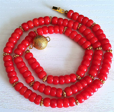 """Gorgeous! Vintage Red Coral Necklace,18 1/8""""long."""