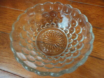 """Anchor Hocking Clear Bubble Glass Dessert Bowl 4-1/8"""" W Vintage"""