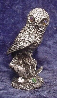 Pewter OWL with Crystal Eyes - Very Detailed