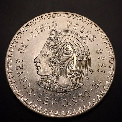 Uncirculated 1948  Mexico 5 Pesos Silver Cuauhtemoc Free S/H! LOW BUY IT NOW!
