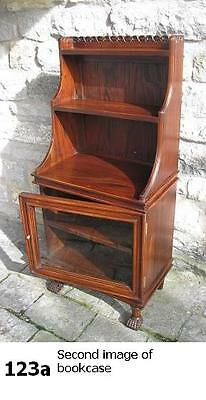 solid mahogany regency style waterfall bookcase with glazed lower cabinet