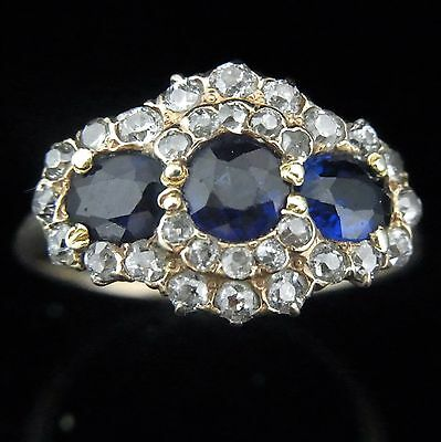 Antique Old European Mine Cut Diamonds 14k Yellow Gold Lab Sapphire Cluster Ring