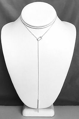 925 Sterling Silver Rectangle and Vertical Bar Lariat Y Slide Necklace