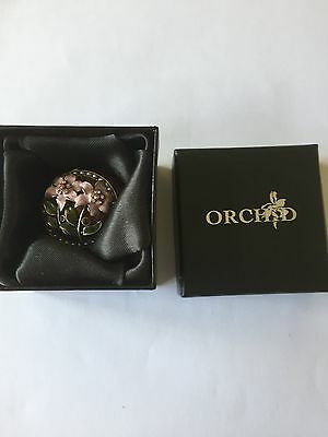 Orchid enamell trinket box (diamonte and pearls flower design