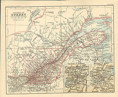 """1890 small map of  """" province of quebec  """" by john bartholomew 1890"""